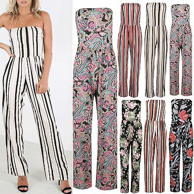 Ladies Ruched Bandeau Jumpsuit Playsuit Womens Sleeveless Maxi All In One • 4.33£