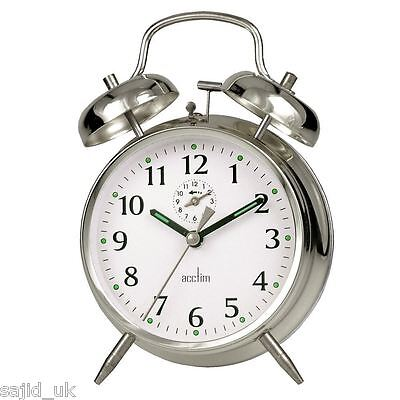 Acctim Traditional Classic Saxon Wind Up Double Bell Alarm Clock - Chrome • 13.95£
