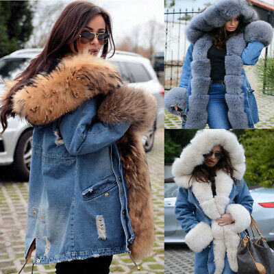 Ladies Fur Lining Coat Womens Winter Warm Thick Long Jacket Outdoor Hooded Parka • 39.91£