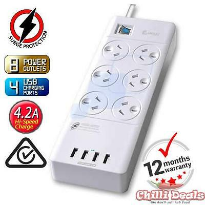 AU38.95 • Buy 6 Way Outlet Surge Protector Power Board With USB Charging IPhone Galaxy Charger