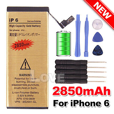 AU11.85 • Buy 2850 MAh For Apple IPhone 6 High Quality Replacement Battery Gold Tools Kit