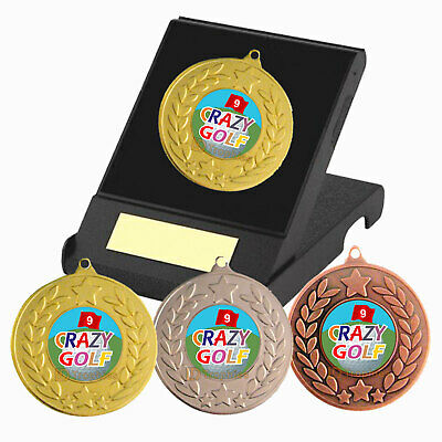 £4.35 • Buy Crazy Golf Medal In Presentation Box With Engraved Plate, Golf Trophy Awards,
