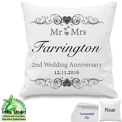 Cotton 2nd Wedding Personalised Anniversary Cushion Canvas Gift Mr Mrs 18 X18  • 11.50£