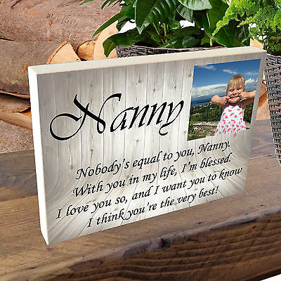 £9.49 • Buy Personalised Photo Block Wooden 6x4  7x5  Picture Frame Any Image Grandad Daddy
