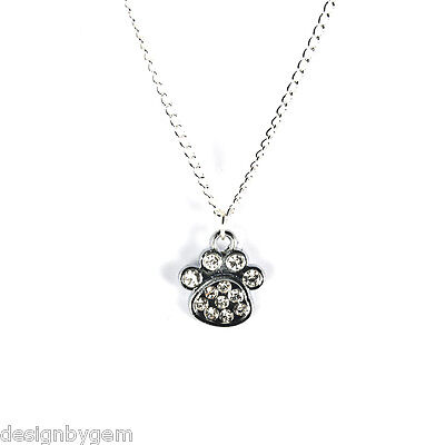 £3.99 • Buy Necklace Diamante Paw Print Dog Necklace Birthday Present Gift For Friend Family