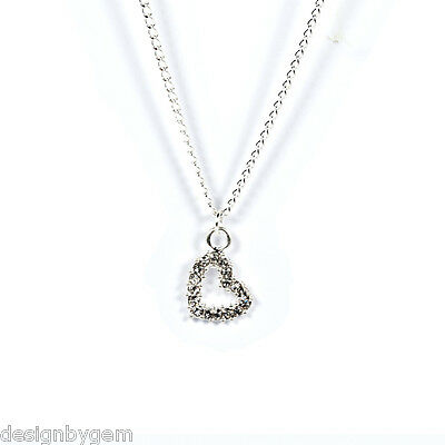 £2.99 • Buy Heart Diamante Silver Plated Necklace Birthday Gift Love Friends Family Mum
