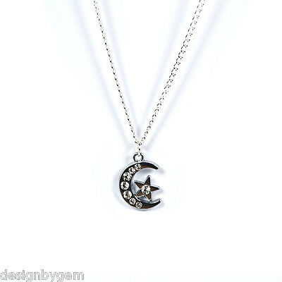 £3.99 • Buy Moon And Stars Diamante Silver Plated Necklace Birthday Gift Friends Family Mum
