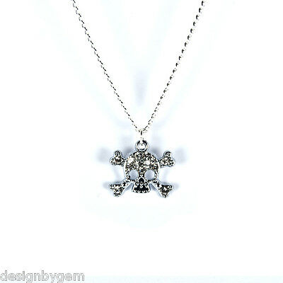 £2.99 • Buy Skull Necklace Diamante Silver Plated Chain Birthday Gift Friends Family Gothic