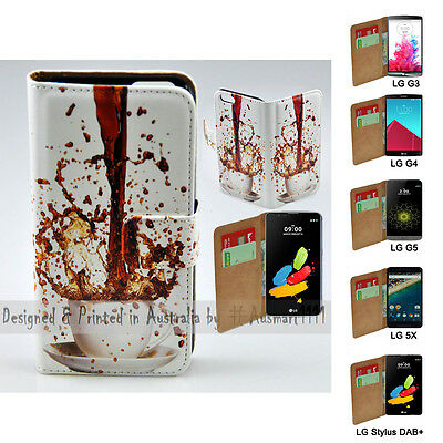 AU14.98 • Buy For LG Series Mobile Phone - Spill Coffee Theme Print Wallet Phone Case Cover