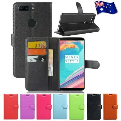 AU6.99 • Buy For OnePlus 5 5T Case Leather Wallet Card Slots Magnetic Flip Case Cover