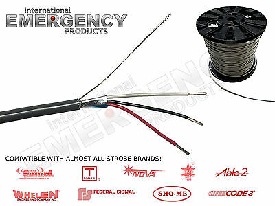 $ CDN100.01 • Buy Strobe Cable 3 Wire 18 AWG Shielded For AMP Power Supply Whelen Federal SIgnal