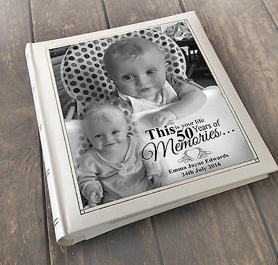 Personalised Large Luxury Guest Book Photo Album, 50th Birthday Memory Book Gift • 34.99£