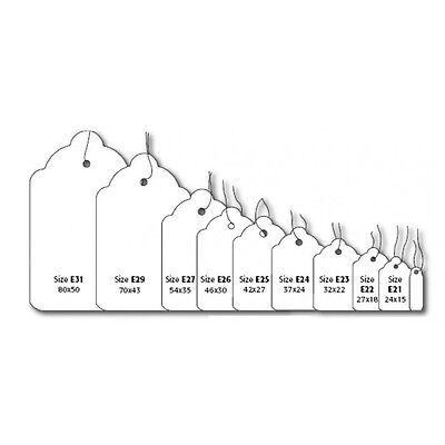 £1.99 • Buy White Kraft Strung String Tags Swing Price Tickets Jewellery Tie On Labels