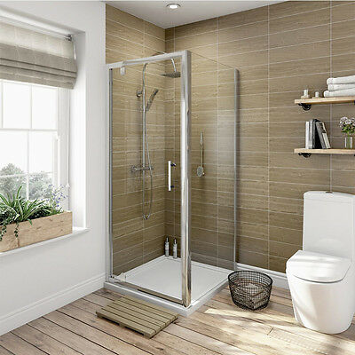 Pivot Shower Door Hinge Cubicle Enclosure Screen Glass Panel With Tray Riser Kit • 198.99£