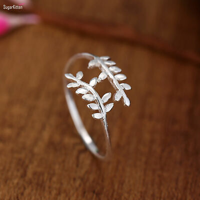 £7.50 • Buy Sterling Silver Feather Dual Leaf Filigree Wrap Knuckle Midi Finger Ring M