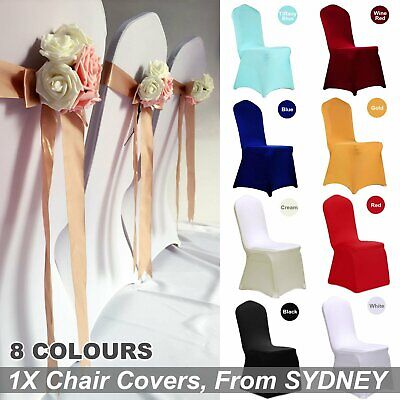 AU8.90 • Buy 1X Chair Cover Full Seat Covers Spandex Stretch Elastic Banquet Wedding Party De