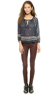 £57.84 • Buy NWT $122 HOUSE OF HARLOW By NICOLE RICHIE BLUE COTTON BOHO EMBROIDERED TOP M