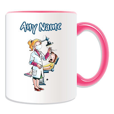 Personalised Gift Dentist Female Mug Money Box Cup White Lab Coat Dental Patient • 7.48£