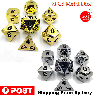 AU18.90 • Buy 7Pcs Polyhedral Metal Dice Set Playing Game Poker Card Dungeons & Dragons Party
