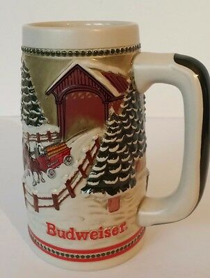 $ CDN11.77 • Buy Budweiser Holiday Series 1984 Clydesdale Beer Stein Mug Covered Bridge