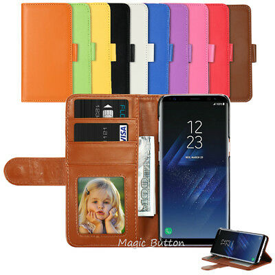 AU7.99 • Buy For Samsung Galaxy S9 S8 Plus S7 Edge Wallet PU Leather Flip Case Card Cover