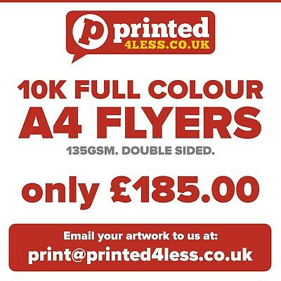 £176 • Buy 10000 A4 Flyers Double Sided Printed Full Colour 135gsm A5 A6 Leaflets Flier