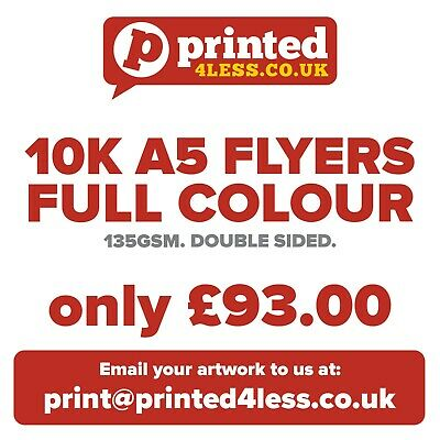 £93 • Buy 10000 A5 Flyers Double Sided Printed Full Colour 135gsm 130 A5 A6 Leaflets Flier