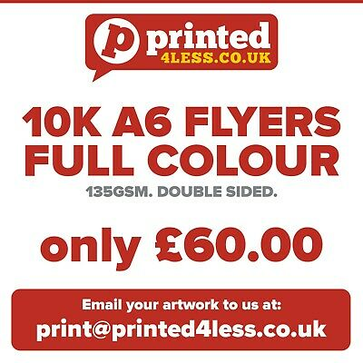 £53 • Buy 10000 A6 Flyers Double Sided Printed Full Colour 135gsm 130 A5 A6 Leaflets Flier