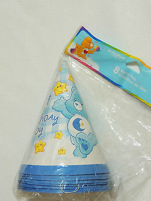 NEW CARE BEARS 1st  BIRTHDAY BOY  8-PARTY HATS-   PARTY SUPPLIES • 3.74£