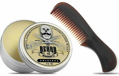 Portlands Finest Moustache Wax & Pocket Beard Comb The Beard And The Wonderful • 5.48£