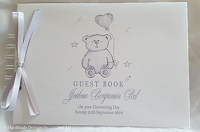 £13.99 • Buy Personalised Baby Teddy Bear *christening* Naming Day* Guest Book /  Scrapbook
