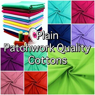 £6.99 • Buy PLAIN PATCHWORK COTTON Fabric Solid Crafting Quilting Craft Dress Material