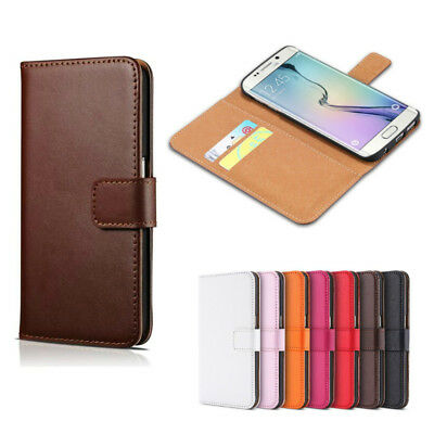 AU7.99 • Buy Genuine Leather Flip Wallet Case Card Cover For Samsung Galaxy S6 S7 S8 S9 Plus