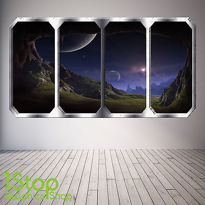 Window Wall Sticker Full Colour - Earth Planets Space Ship Sp1 • 13.99£