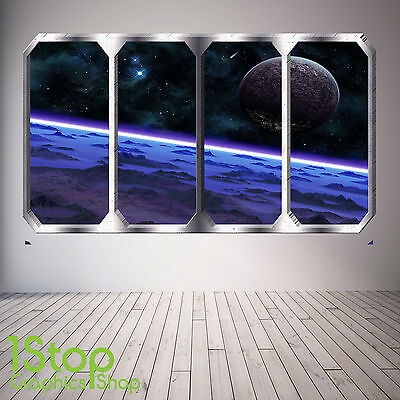 Space Planet Window Wall Sticker Full Colour - Earth Planets Space Ship Sp2 • 13.99£
