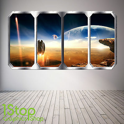 Space Planet Window Wall Sticker Full Colour - Earth Planets Space Ship Sp8 • 12.59£