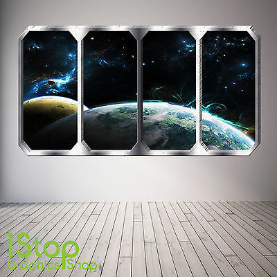 Space Planet Window Wall Sticker Full Colour - Earth Planets Space Ship Sp10 • 13.99£