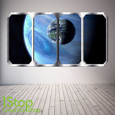 Space Planet Window Wall Sticker Full Colour - Earth Planets Space Ship Sp14 • 11.99£