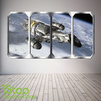 Space Planet Window Wall Sticker Full Colour - Earth Planets Space Ship Sp17 • 12.99£
