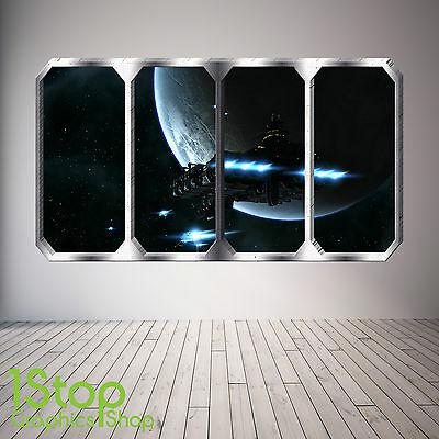 Space Planet Window Wall Sticker Full Colour - Earth Planets Space Ship Sp25 • 11.99£