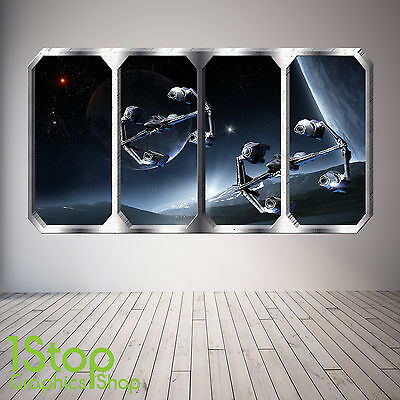 Space Ship Window Wall Sticker Full Colour - Earth Planets Space Ship Sp26 • 13.99£