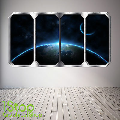 Space Planet Window Wall Sticker Full Colour - Earth Planets Space Ship Sp27 • 13.99£