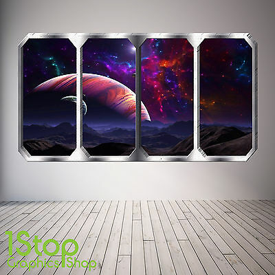 Space Planet Window Wall Sticker Full Colour - Earth Planets Space Ship Sp28 • 13.99£