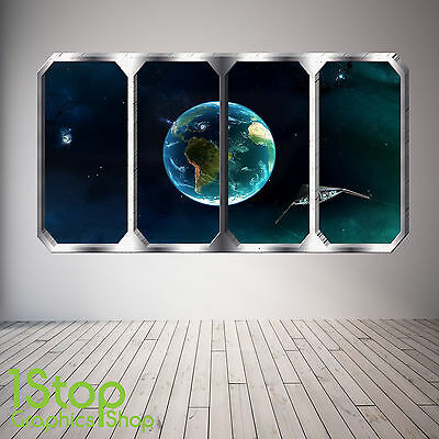 Space Planet Window Wall Sticker Full Colour - Earth Planets Space Ship Sp30 • 10.79£
