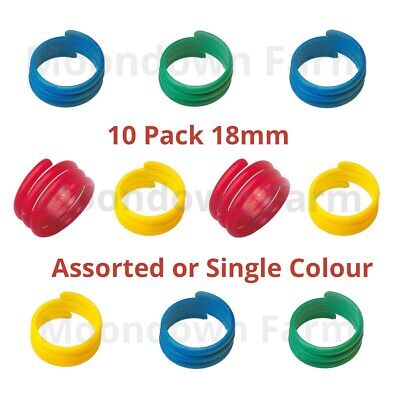 10 X 18mm Poultry Spiral Leg Rings 4 Colours Chicken Duck Hen Hatching Eggs • 3.90£