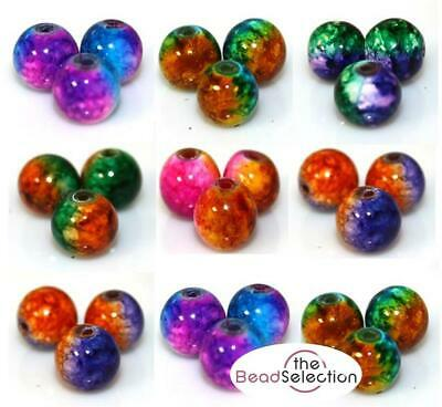NEW STUNNING COSMIC DRAWBENCH GLASS BEADS  50 X 8mm Or 70 X 6mm COLOUR CHOICE • 2.29£