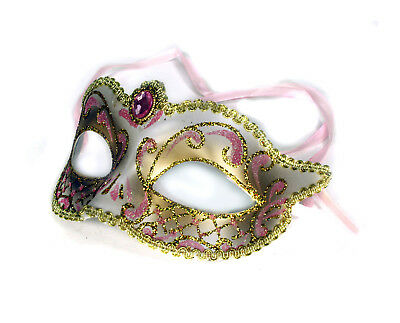 £7.17 • Buy Masquerade Mask White Gold Pink Crystal Party Prom Tooth Fairy Decor Costume
