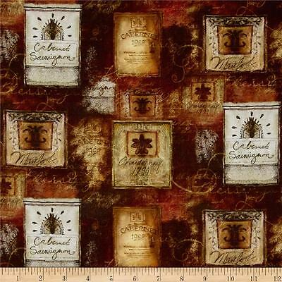 Digital Print Mia Sonoma Country Wine Labels 100% Cotton Fabric By The Yard • 9.66$