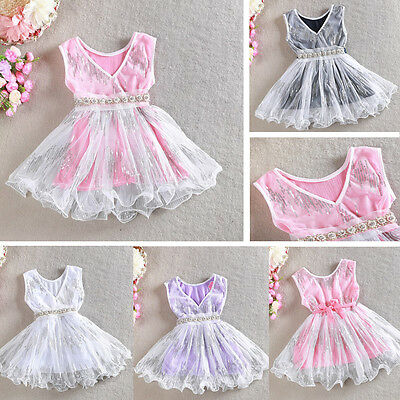 AU8.76 • Buy Girls Dress Pearl Waistband Sequin Vintage Lace Tulle TuTu Party Birthday 1-7