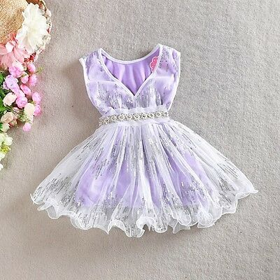 AU10.95 • Buy Girls Dress Pearl Waistband Sequin Vintage Lace Tulle TuTu Party Birthday 1-7